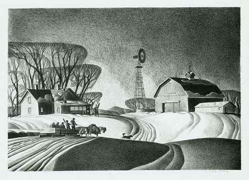 Dale Nichols lithograph, Company for Supper