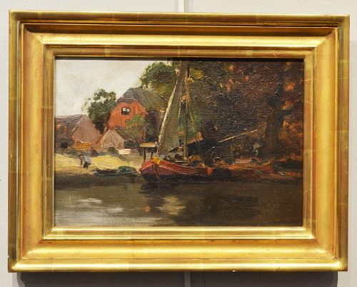 Charles Paul Gruppe, painting, Dutch Canal