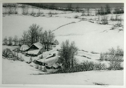 Kerr Eby etching, Still Hollow, pencil signed