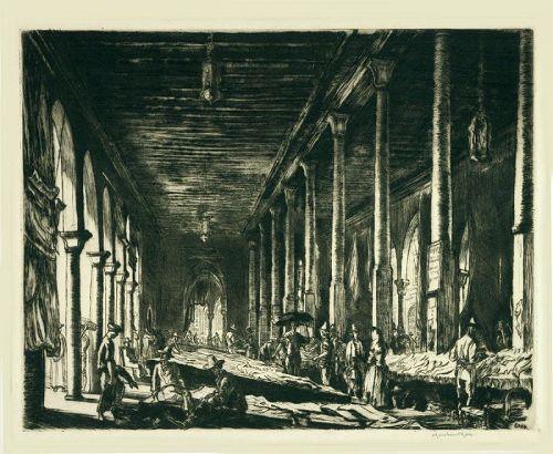 Muirhead Bone etching, Fish Market, Venice