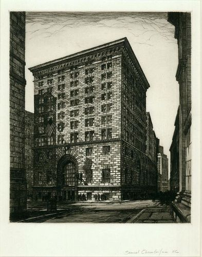 Samuel Chamberlain, etching, Boston, First National