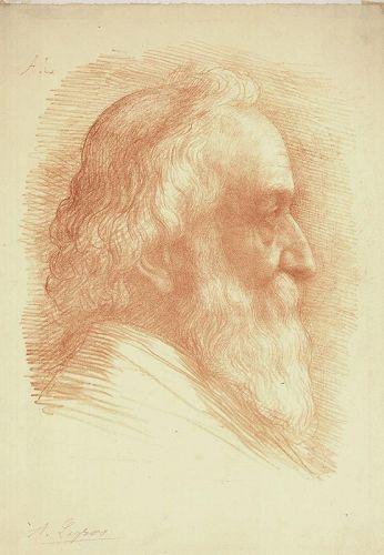Alphonse Legros, lithograph, Self Portrait