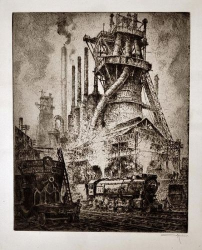 Otto Kuhler, Steel Castles, etching, trains