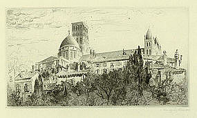 "John Taylor Arms, Etching, ""Angouleme Revisited"""