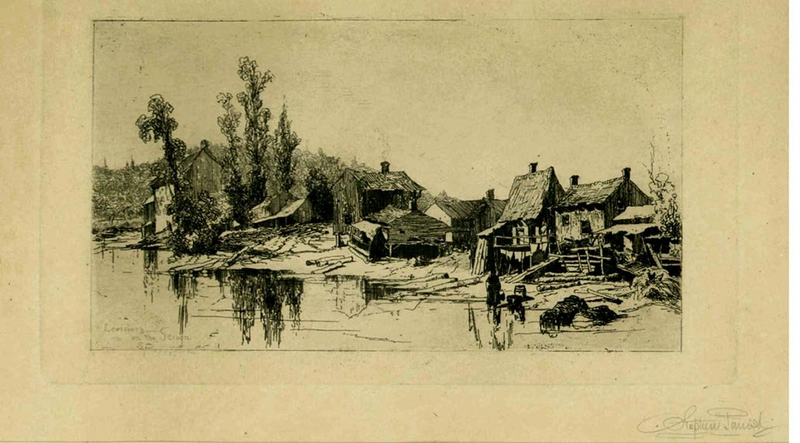 "Stephen Parrish etching, ""Lewisberg on the Schroon"""