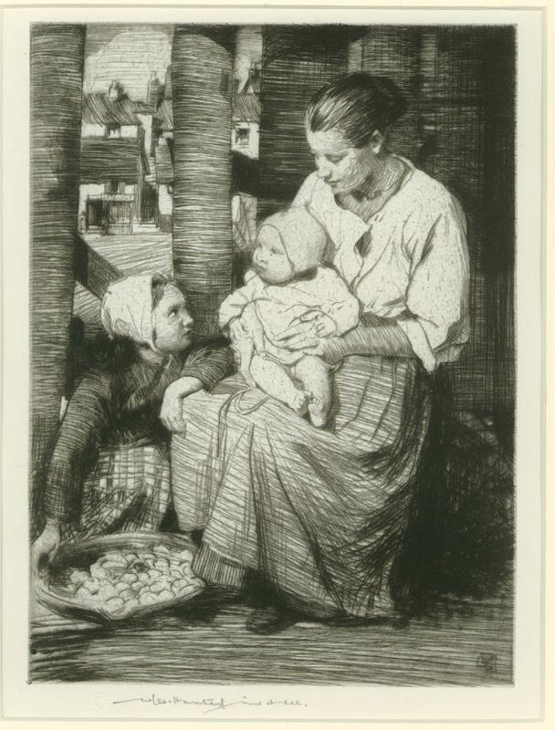 "William Lee Hankey Etching, ""Corner of the Fish Market"""