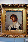 Alois Binder Painting, Portrait Young Girl