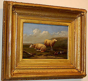 "Jacob van Dieghem, Painting, ""Sheep and Mallards"""
