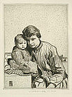 William Lee Hankey, Mother and Child, etching