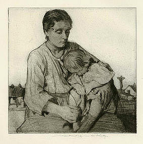 "William Lee Hankey etching, ""Sleeping Child"""