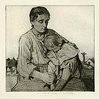 """William Lee Hankey etching, """"Sleeping Child"""""""