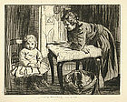"William Lee Hankey, ""The Lesson"", etching"