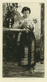 """William Lee Hankey, """"Woman in Thought"""", etching"""