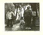 """Peggy Bacon, Lithograph, """"Sights of the Town"""""""