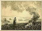 """Albert W. Barker, Lithograph, """"Stubble Fire"""""""