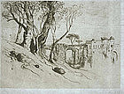 "Samuel Coleman, Etching, ""Olive Trees on the Riviera"""