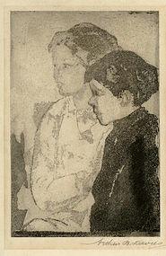 "Arthur Bowen Davies, Etching, ""Brothers"""