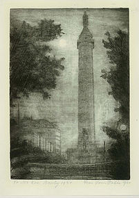 "Leon Louis Dolice, Etching, ""New York Monument at Night"