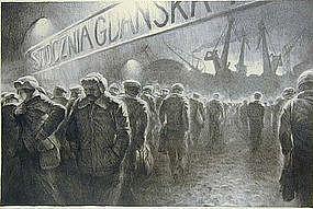 "Richard C. Harden, Lithograph, ""Shipyards, Gdansk"""