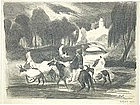 "George O. ""Pop"" Hart, Lithograph, ""Figures on Donkeys"""