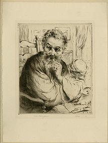 "Arthur Heintzelman, Etching, ""Le Bibliophile"""