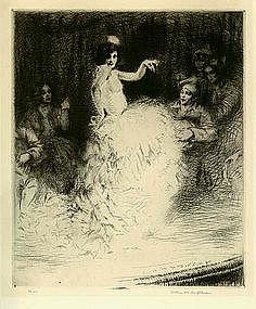 "Arthur Heintzelman, Etching, ""Scene de Music Hall"""