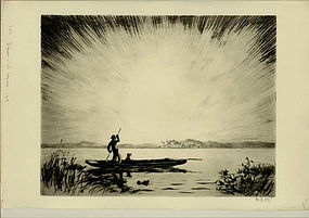 "Lester George Hornby, Etching, ""Dawn in the Lagoon"""