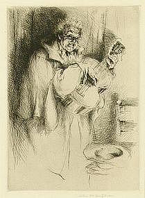 """Arthur Heintzelman, Etching, """"Chanteur Populaire"""""""
