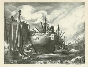"Charles Wheeler Locke, Lithograph, ""Tramp Steamer"""