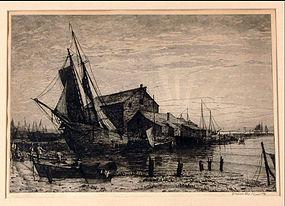 "Charles Mielatz, Etching, ""Sunset Nantucket"""