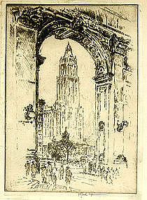 """Joseph Pennell, Etching, """"Woolworth Through the Arch"""""""