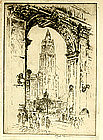"Joseph Pennell, Etching, ""Woolworth Through the Arch"""