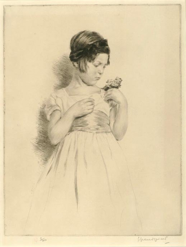 """Lucien Grand-Gerard, Etching, Young Girl with Flowers"""""""