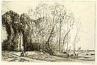 "August-Louis Lepere, Etching, ""Belle Matinee d'Automne"""