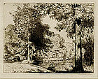 "August-Louis Lepere, Etching, ""Riviere de la Vie"""