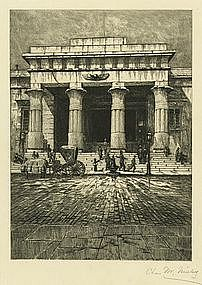 "Charles Mielatz, Etching, ""The Tombs"""