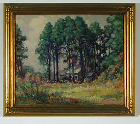 "Frederick Mortimer Lamb, Painting, ""House in the Pines"""