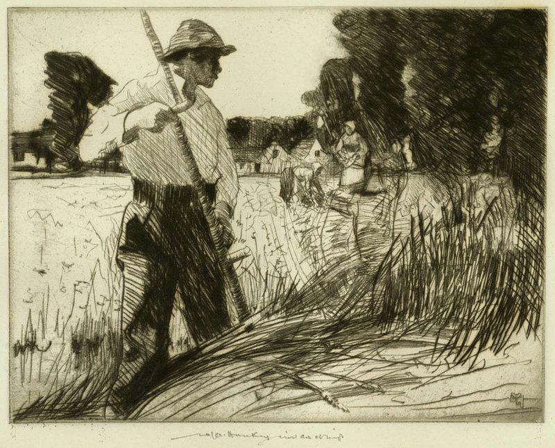 "William Lee Hankey, etching, ""Field Workers"""