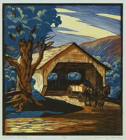 "Channing Smith, woodblock, ""Covered Bridge"""