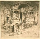 """Vaugham Trowbridge, etching, """"St. Trophime - Arles"""""""