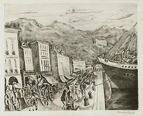 "Hermine David, etching, ""Dockside, Seine"""