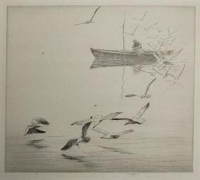 "Harold Kerr Eby, etching, ""The Lobsterman"""