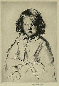 "Arthur Heintzelman, etching, ""Ma Petite Voisine"""
