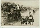"Sir Francis Seymour Haden, etching, ""Wareham Bridge"""