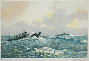 "Robert Dumont-Duparc, etching, ""Destroyer..."""