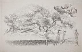 "Arthur Bowen Davies, lithograph, ""On Willow Brook"""