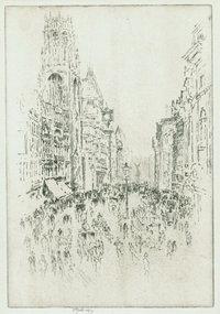 """Joseph Pennell, etching, """"St. Dunstan's, Fleet Street"""""""
