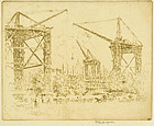 Joseph Pennell, etching, Great Cranes, South Kensington