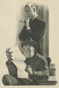 "Joseph Hirsch, lithograph, ""Brief"""