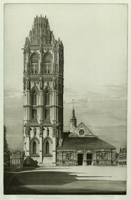 "John Taylor Arms, etching, ""Aspriation, La Madeleine"""
